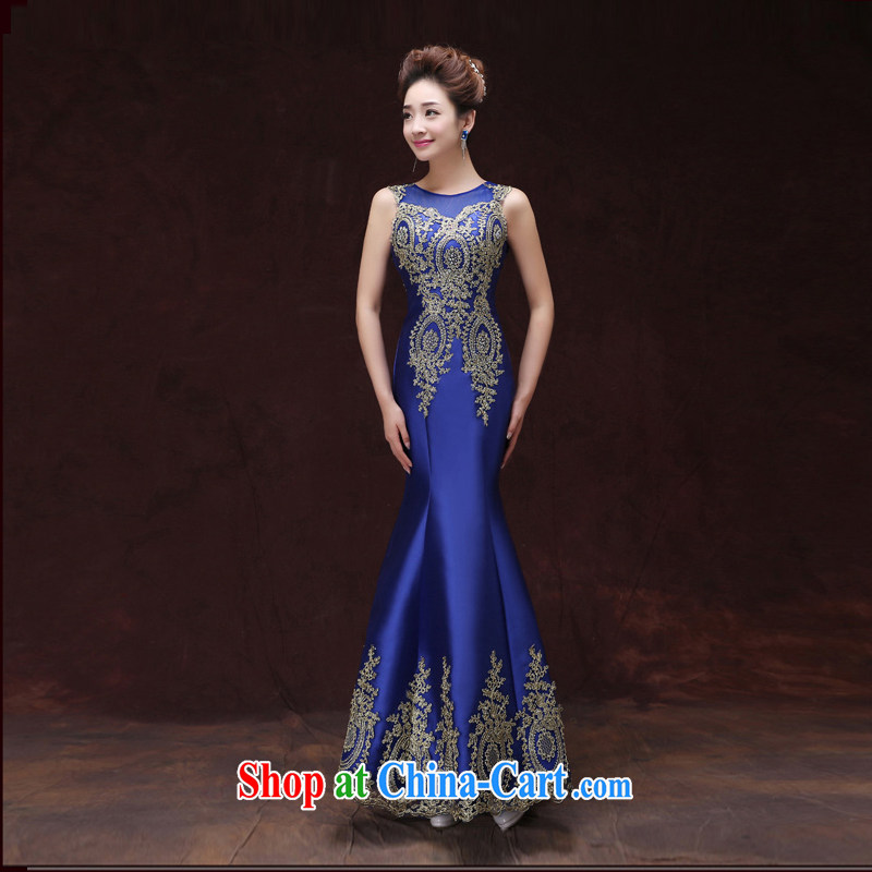blue dress 2015 new field show shoulder dress long dual-shoulder lace leak back at Merlion dress beauty girl blue tailored please contact customer support.