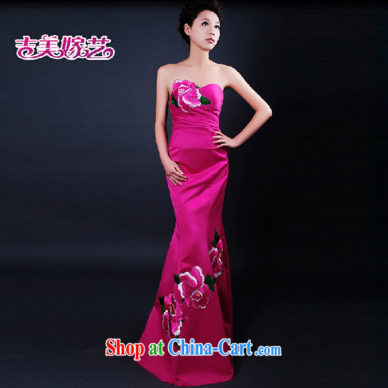 wedding dresses Jimmy married arts 2015 new erase chest won the crowsfoot red LS 253 bridal gown of red L