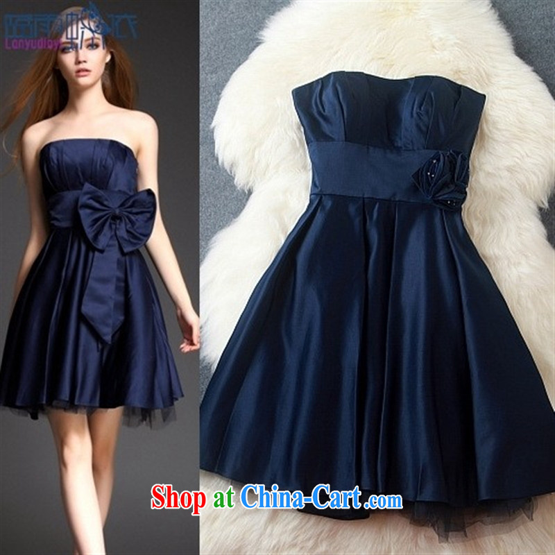 Blue rain bow in accordance with _ 2015 yuan a stylish literary Lady style ceremony dress dress dress a field for erase chest dresses T 3148 black XL