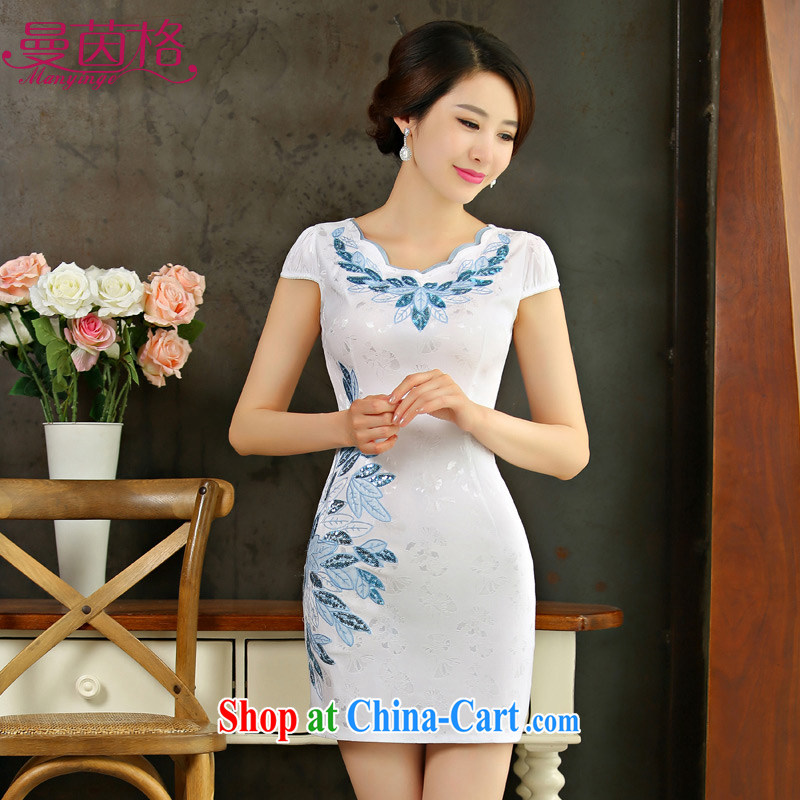 Cayman Athena, 2015 New National wind short cheongsam dress retro cultivating short-sleeved gown dress girls summer white XXL