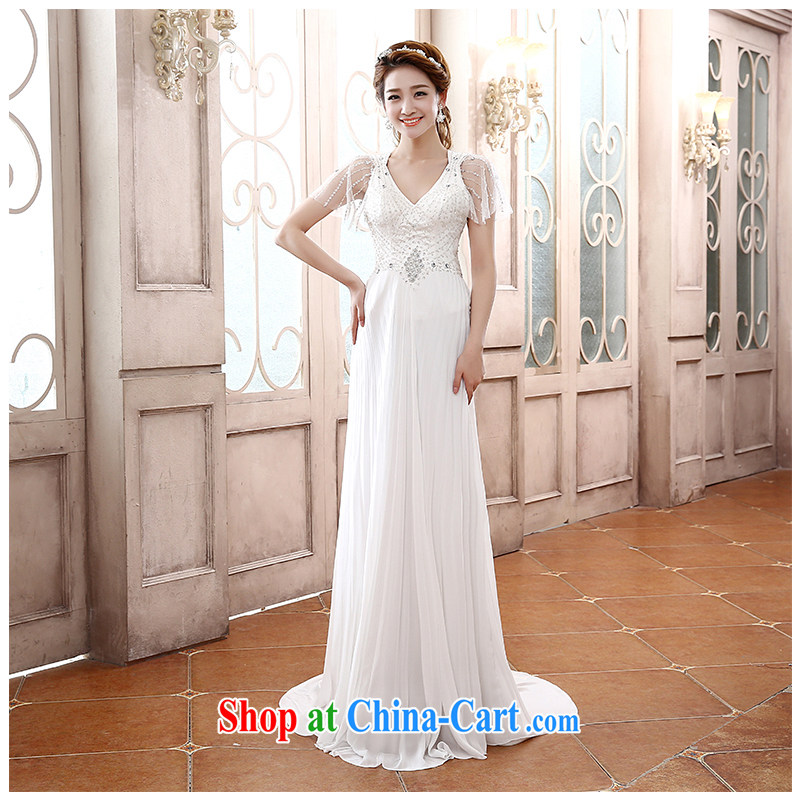 The beautiful yarn 2015 New Field shoulder-su graphics thin shoulders with beauty dresses sexy back exposed V collar bridal dresses wedding factory direct