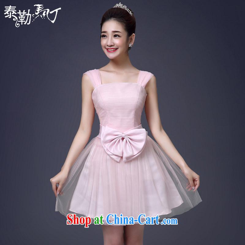 Martin Taylor 2015 bridesmaid dresses in Korean fashion lace bridesmaid wedding service wedding field shoulder short dress small dress pink XL