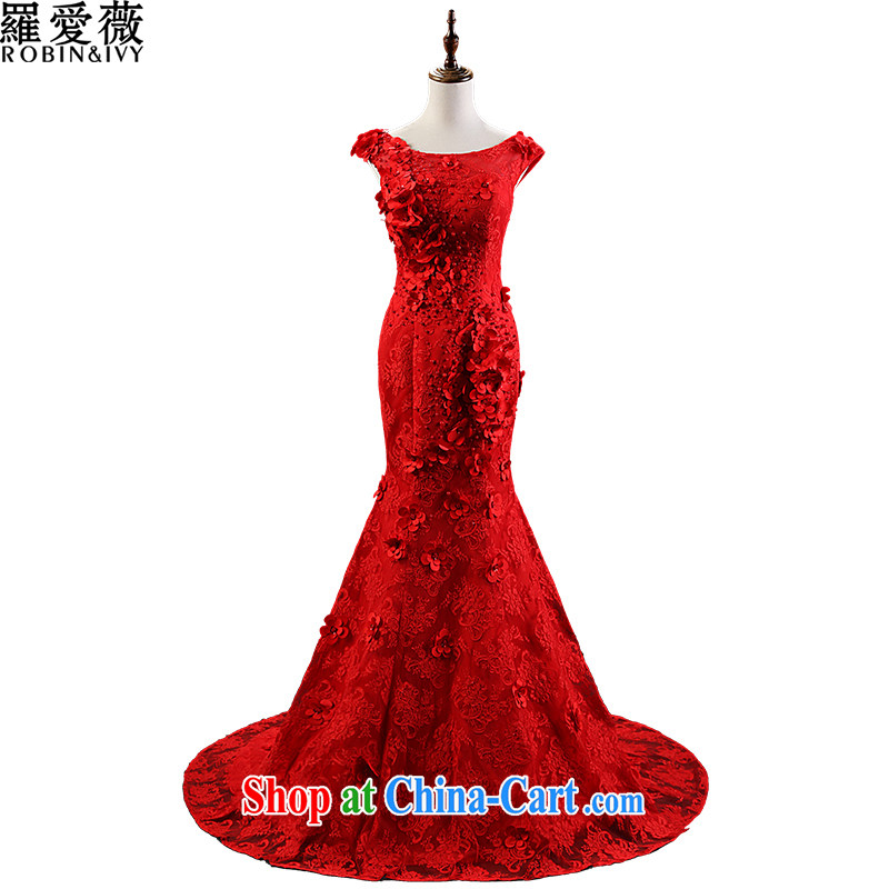 Love, Ms Audrey EU marriages served toast red crowsfoot flowers long-tail wedding dresses 2015 stylish new beauty dress L 35,022 red advanced customization