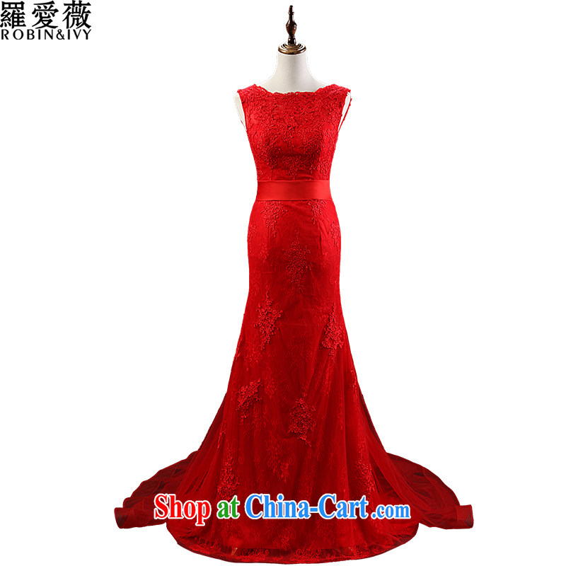 Love, Ms Audrey EU marriages served toast red lace back exposed long-tail wedding dresses 2015 stylish new beauty dress L 35,019 red advanced customization