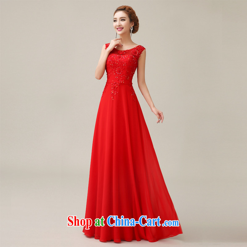 Yi love is wedding dresses 2015 spring and summer new marriages served toast bridesmaid long red lace Evening Dress female Red S