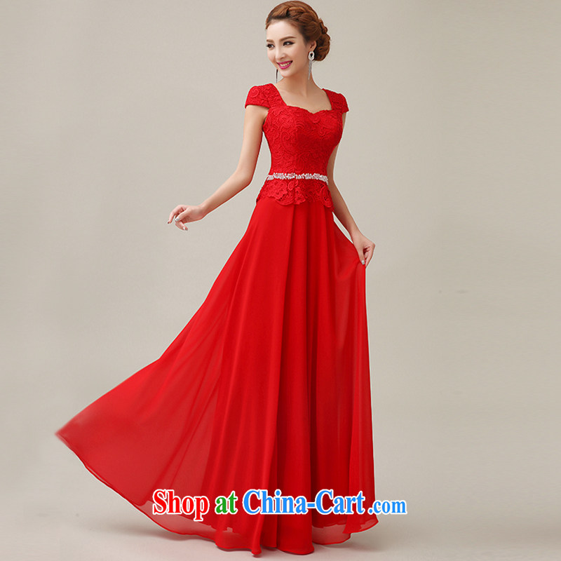 Yi love is wedding dresses 2015 summer new bride bridesmaid wedding dress wedding toast clothing evening dress long dual-shoulder lace red Bride with pink XXL
