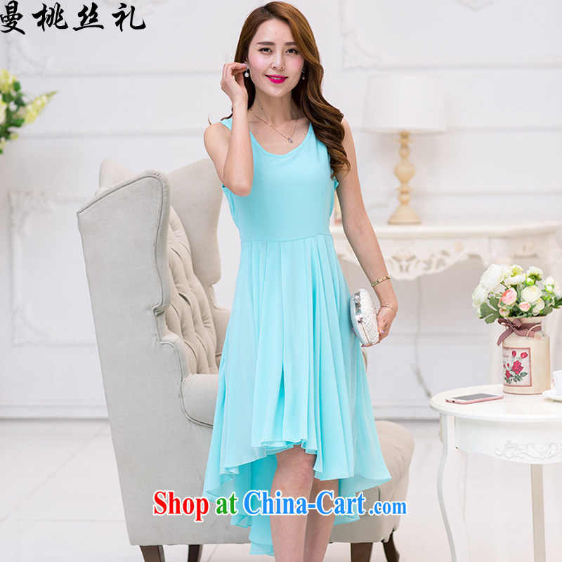 Cayman business population, Evening Dress dresses summer new Korean high-end solid-colored dresses style lady is not rules skirt swing dress water blue XXL