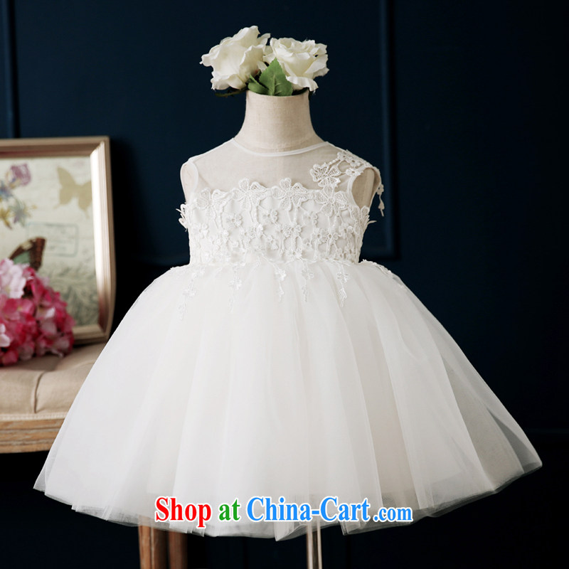 Pure bamboo love yarn flower girl dress 2015 spring and summer new children's dress dress Princess wedding girls flower show the shaggy dress white 130 CM