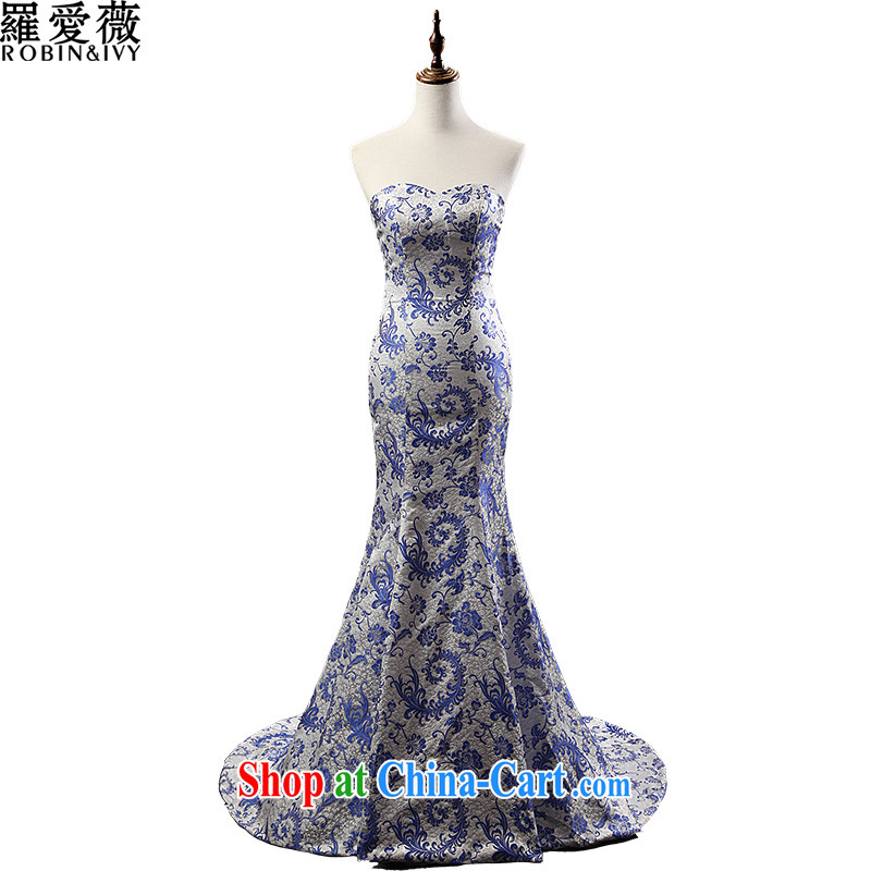 Love, Ms Audrey EU marriages served toast blue and white porcelain crowsfoot long-tail wedding dresses 2015 stylish new beauty dress L 35,058 blue and white porcelain L