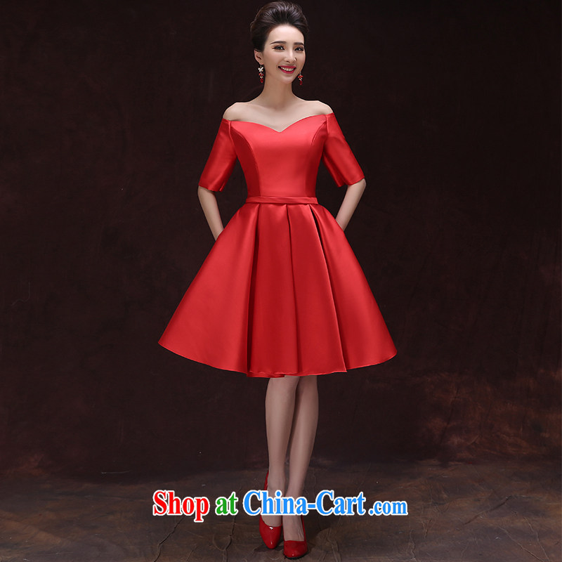 Serving toast bride summer 2015 red marriage graduated from the field shoulder evening dress short, small banquet dress graphics thin spring the style dress red tailored contact Customer Service