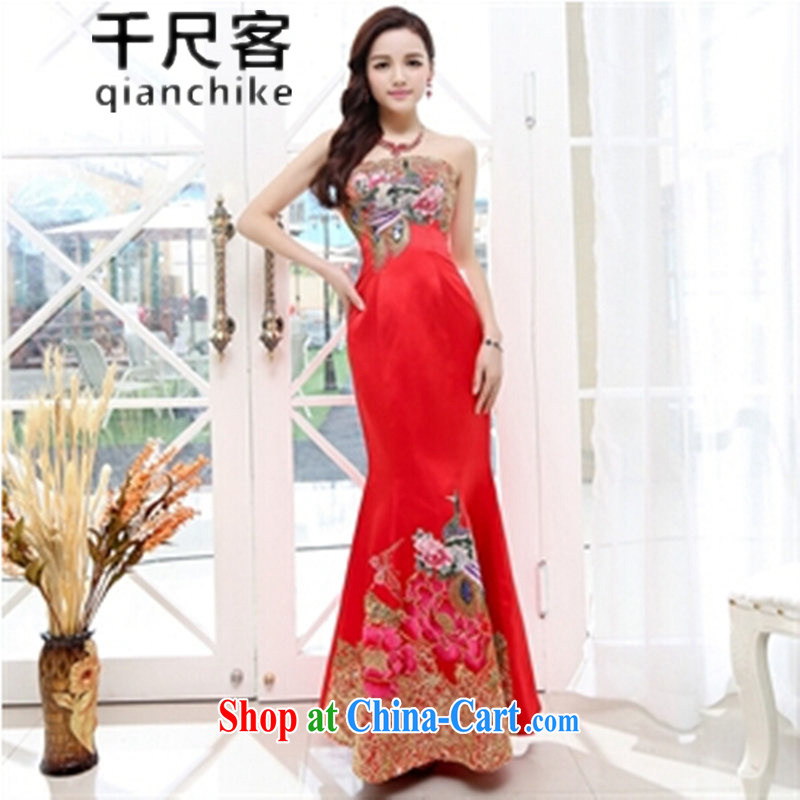 1000 feet, 2015 spring and summer bridal dress bridesmaid dress luxury Bong the crowsfoot double-yi long skirt, high-end custom banquet with large red XL