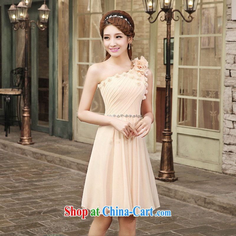 Impression Leigh 2015 new bride wedding dress toast serving long bridesmaid beauty single shoulder dress red long L 1003 champagne short XXL