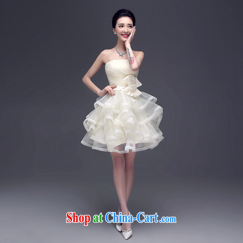 Kou Connie LIFU summer 2015 new Korean wiped his chest champagne short dress bridal red wedding toast service banquet dress 004 champagne color tailored final