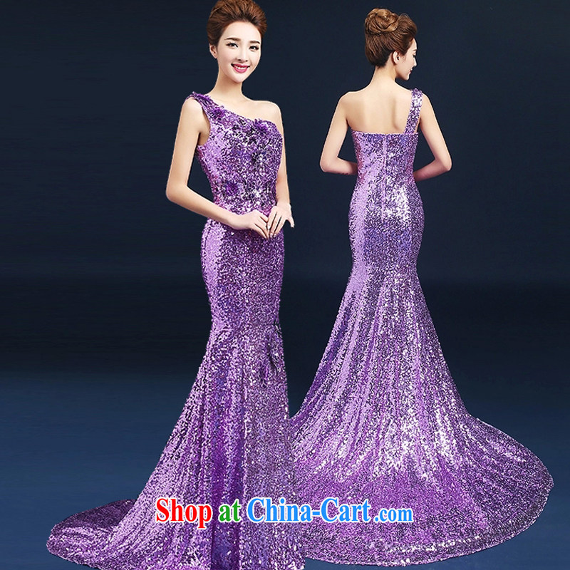 Snow Lotus wedding toast purple clothes, dress a shoulder embroidery bows dress manual stereo take tail gown New Beauty dress light purple L