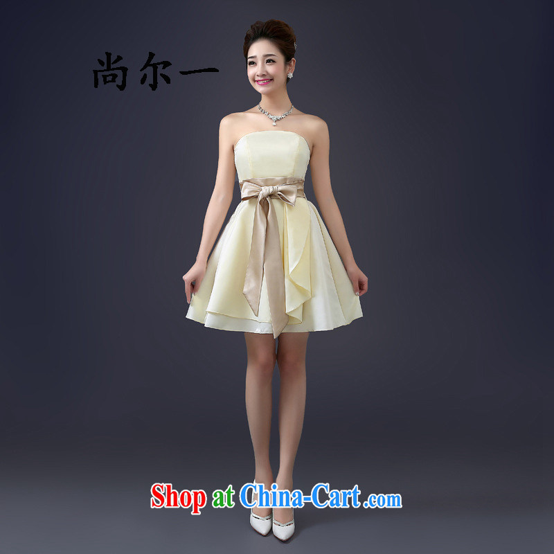 There's a wedding dresses new spring wipe chest bridal small dresses short dresses bridesmaid mission shaggy short skirt girls 5273 champagne are code