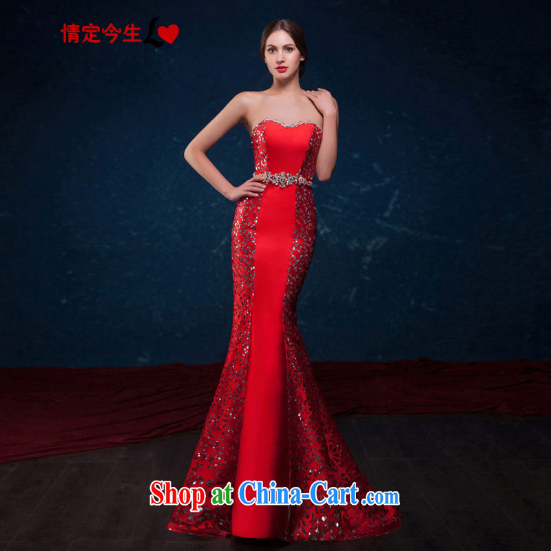 Love Life 2015 summer New Beauty at Merlion red Language empty tread bare chest parquet drill sexy back exposed tail dress bridal toast service wedding dress red XL
