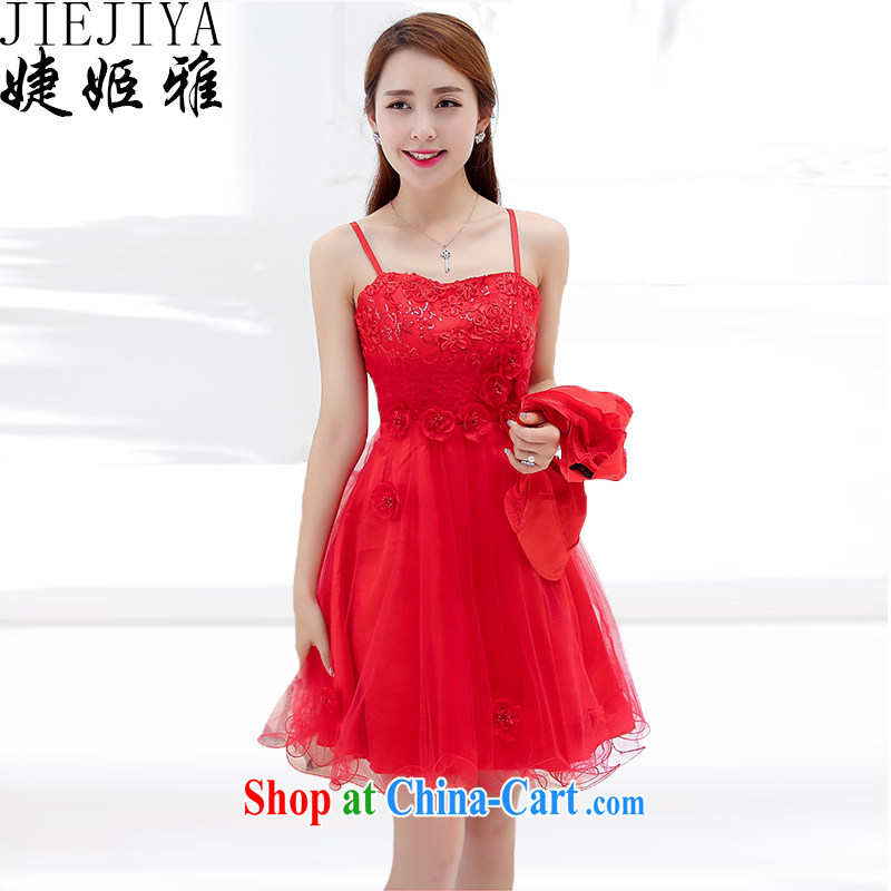 With her, summer, new Korean wedding dress female Two-piece dresses and stylish high-end-style two-piece bridal dresses bows back door bridesmaid Evening Dress female Red XXXL