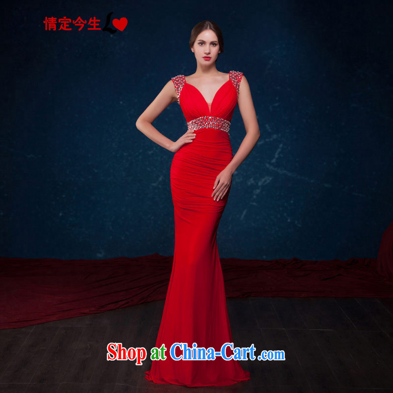 Love Life 2015 summer new sexy stylish deep V collar crowsfoot cultivating graphics thin red bridal toast service banquet dress red XL