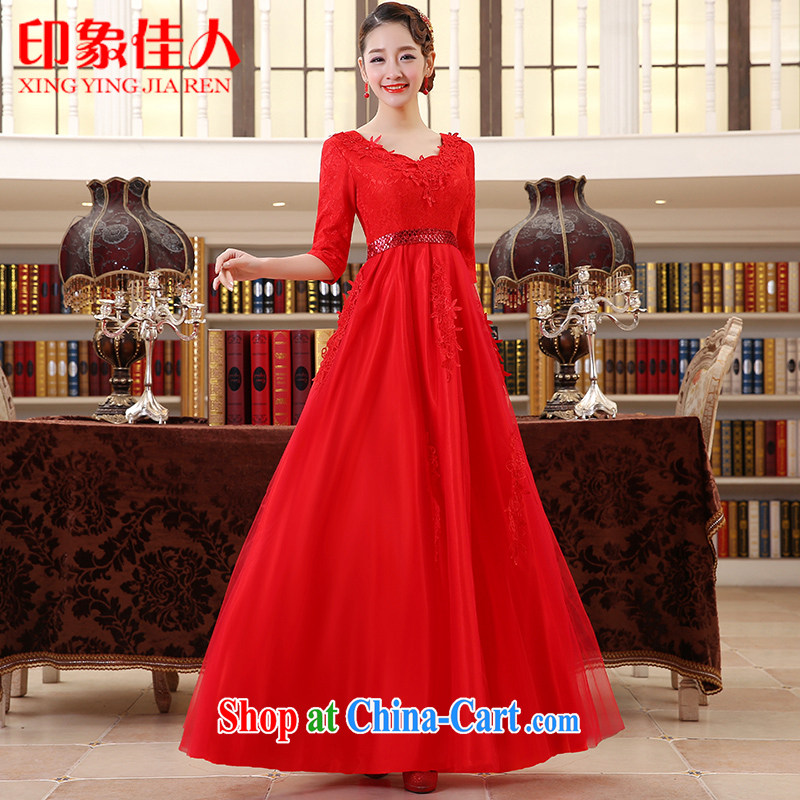 Leigh impression wedding dresses 2015 new marriages served toast dress red long evening dress L XL 2039