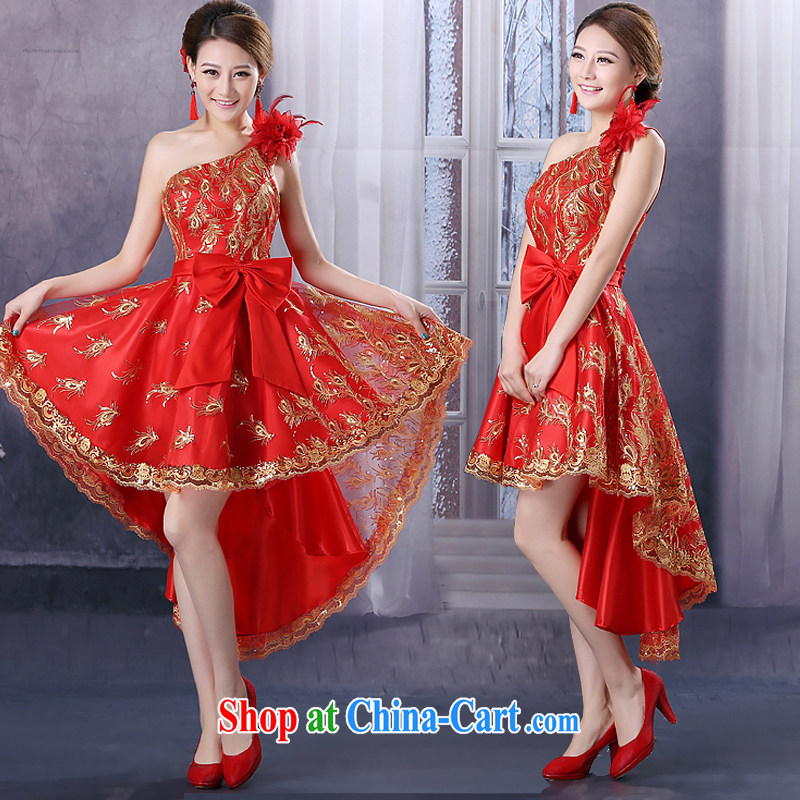 Slender legs fine lace dress new bridal wedding dresses stylish bows. Red-short long Korean wedding dresses dress pregnant women to wear Feng Mei took the shoulder, L