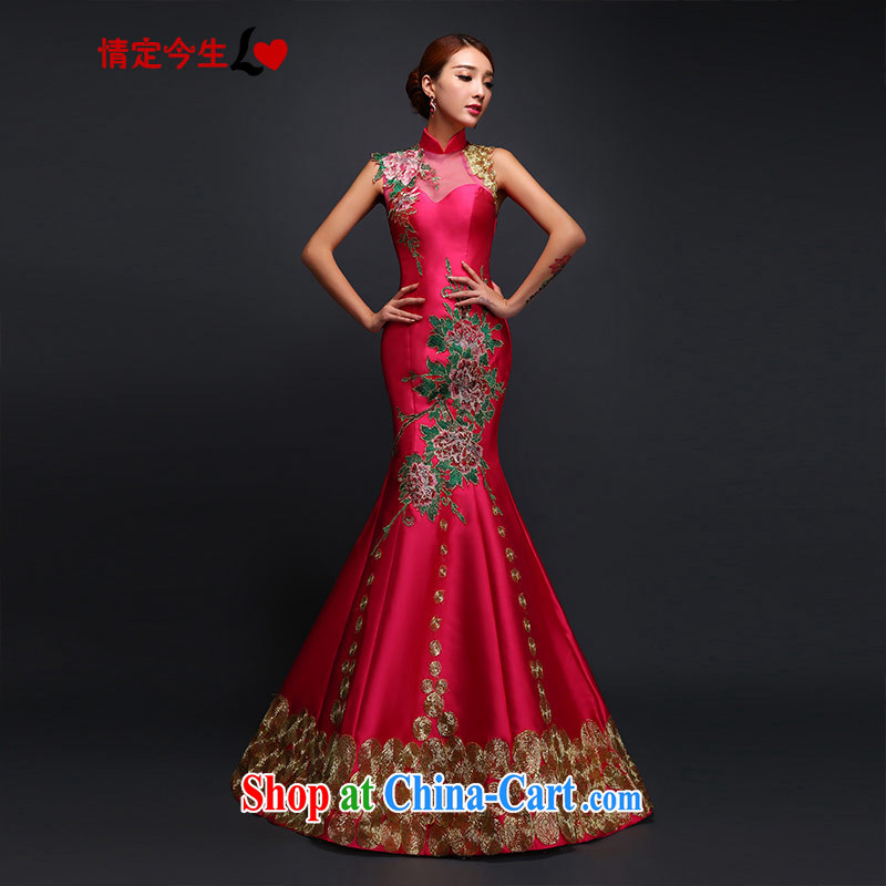Love Life retro beauty embroidery field shoulder at Merlion dress new dress long bridal toast serving red XL
