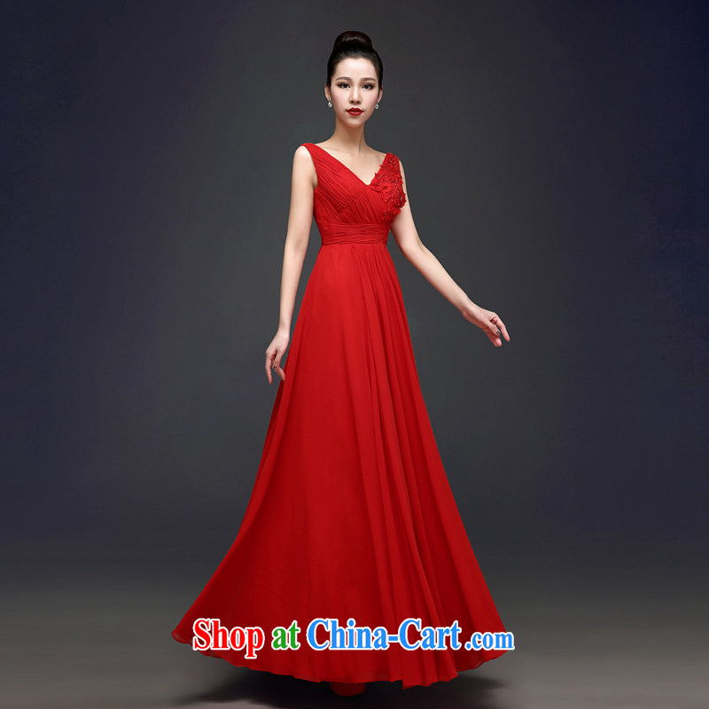 Kou Connie red bows service bridal dresses long, summer 2015 new dual-shoulder V collar graphics thin strap wedding dress 0006 red tailored is not returned.