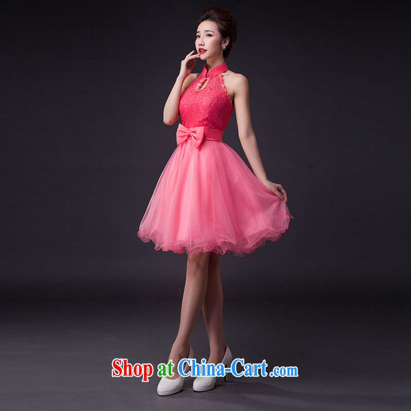 Hi Ka-hi wedding dresses 2015 new stylish Korean Princess bride is also tied with short, only the US shaggy dress bridesmaid JX served 03 pink left size tailored