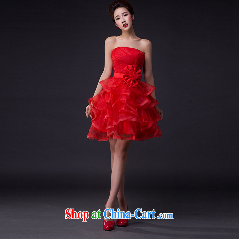 Hi Ka-hi wedding dresses 2015 new sexy Korean Princess bride wiped his chest strap short, only the US shaggy dress bridesmaid JX served 06 red left size tailored
