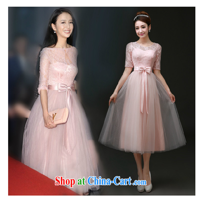 White first to about 2015 short bridesmaid toast serving serving summer married women dress banquet dress moderator dress female officers, Julia, with pink L