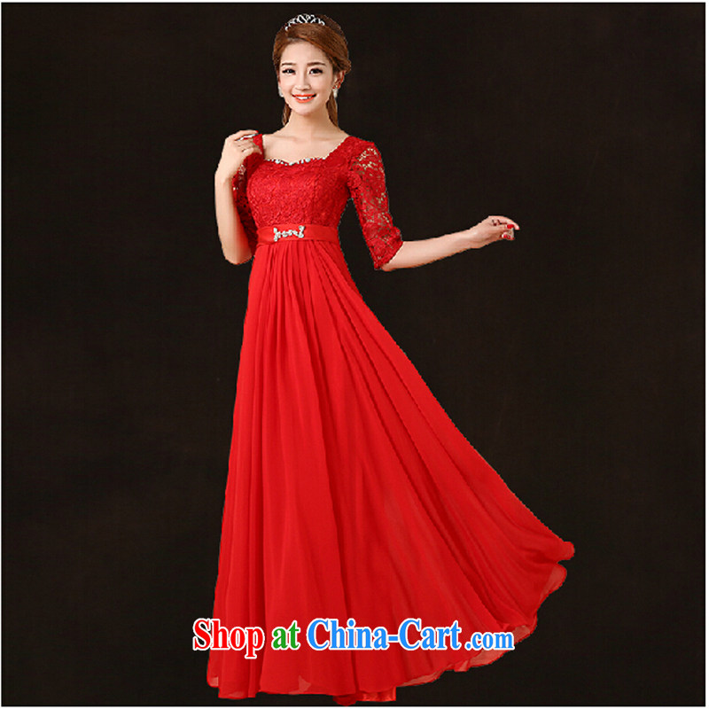 Pure bamboo yarn love 2015 New Red bridal wedding lace dress long evening dress Evening Dress toast only serve us in cultivating cuff dress red long XXL