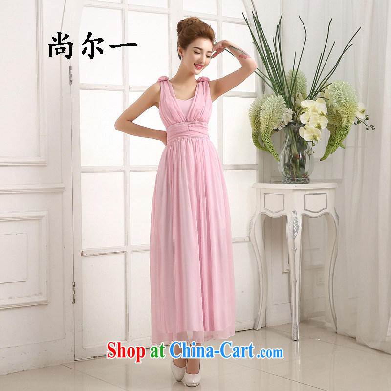 Still, 12,015 new dual-shoulder V collar dress bridal toast serving long bridesmaid clothing dresses summer 5281 pink are code