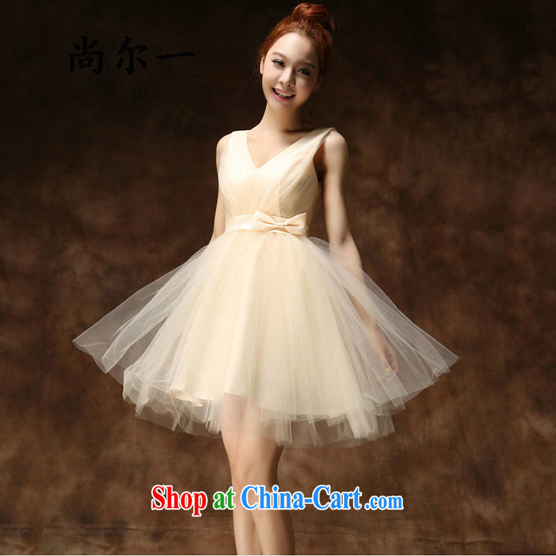 There is a Korean version of the new, champagne color bridesmaid dress bridal short bows shaggy dress Evening Dress daily 5282 champagne color M