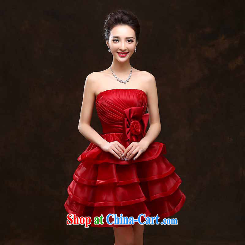 bridal gown bridesmaid dress short wedding autumn and winter the betrothal moderator Evening Dress bridal red bows dress wine red will not do not switch