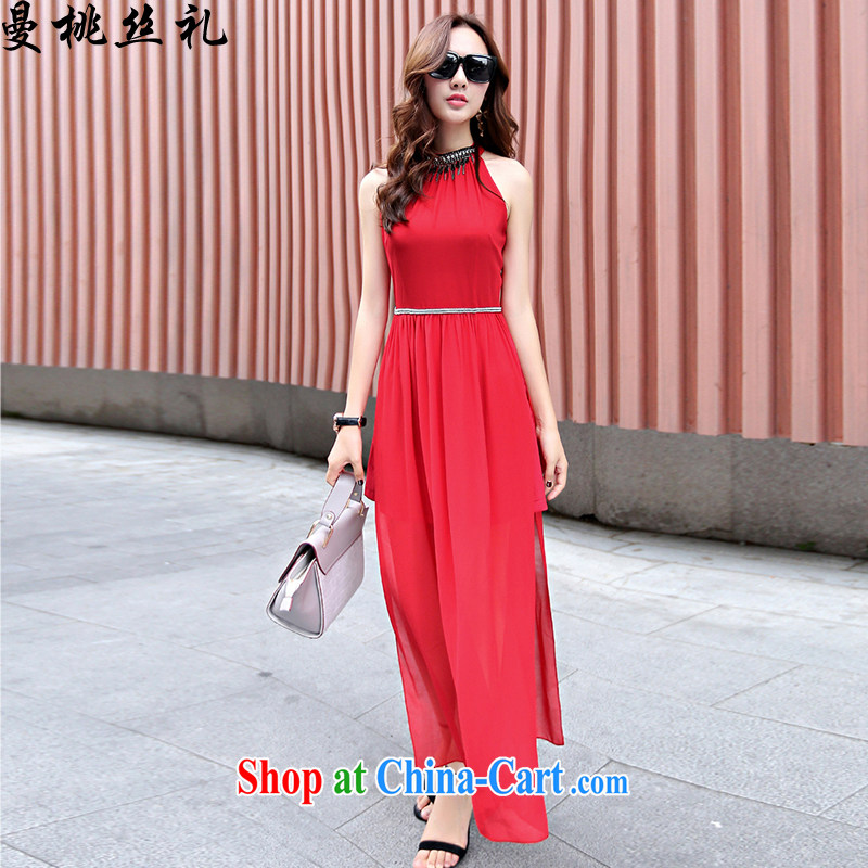 Cayman business, Gift wedding dress girls summer new Korean style high-end style sleeveless bare shoulders wedding dress long skirt back door toast bridesmaid fitted evening dress red S