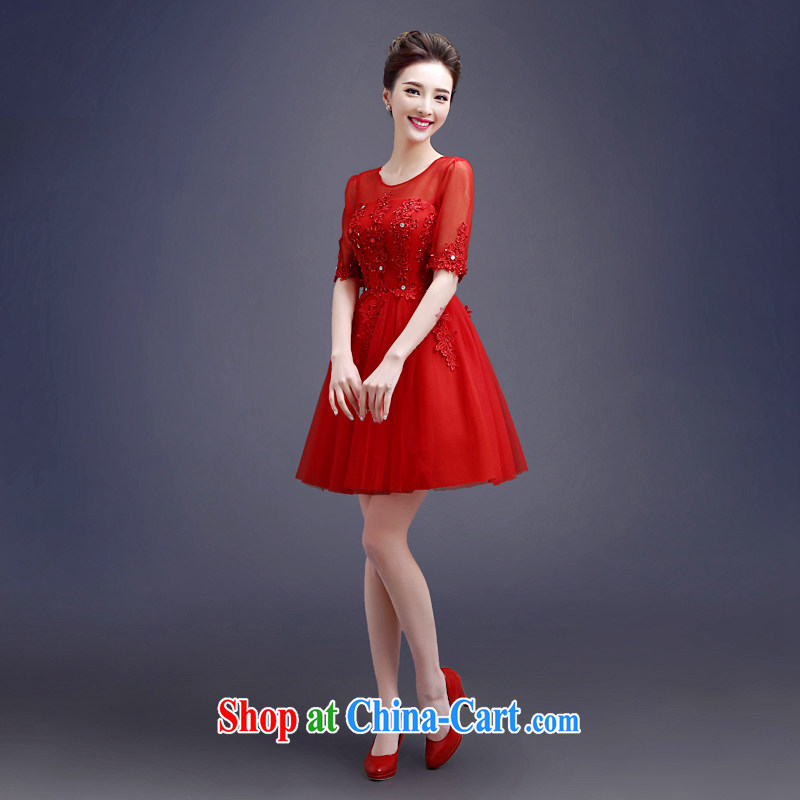 Connie focus 2015 new toast Service Bridal short summer shaggy dress red wedding dress cuff in a shoulder collar graphics thin female Red S