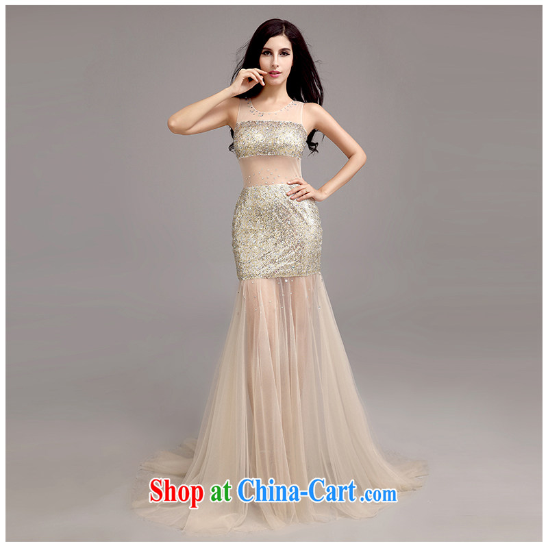The beautiful yarn small tail dress sexy shoulders back exposed small-tail dress beauty package and Europe and America, elegant toasting service shadow floor service 2015 new