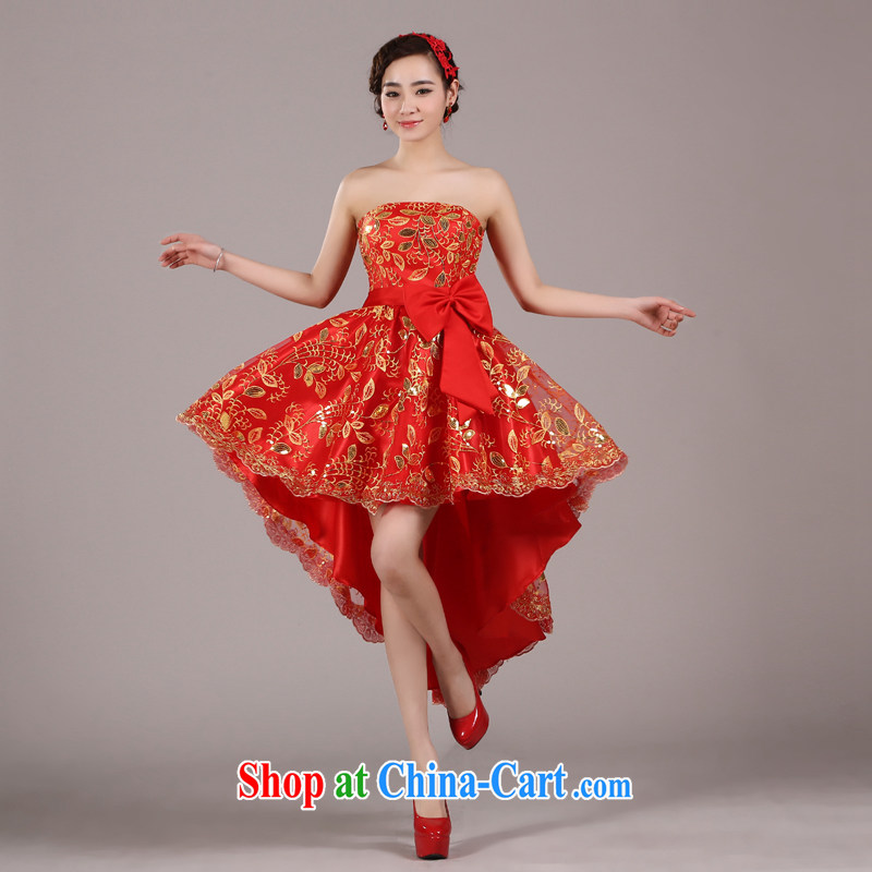 Pure bamboo love dresses wedding dresses red bridal gown before after short gown bridal toast dress beauty legs dress uniform performance stage service Red Red B XXXL paragraph