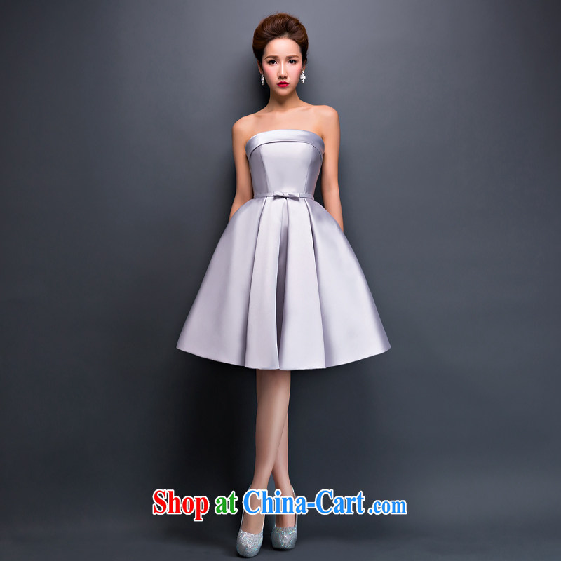Love spell Fort 2015 new summer evening dress a Field shoulder Korean short strap moderator performances dress dresses women Mary Magdalene chest silver gray XL (90/74,