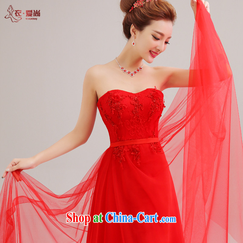 Yi love is 2015 new stylish and wiped his chest lace beauty Evening Dress bridal wedding dress red bridal toast serving long red to make the $30 does not return
