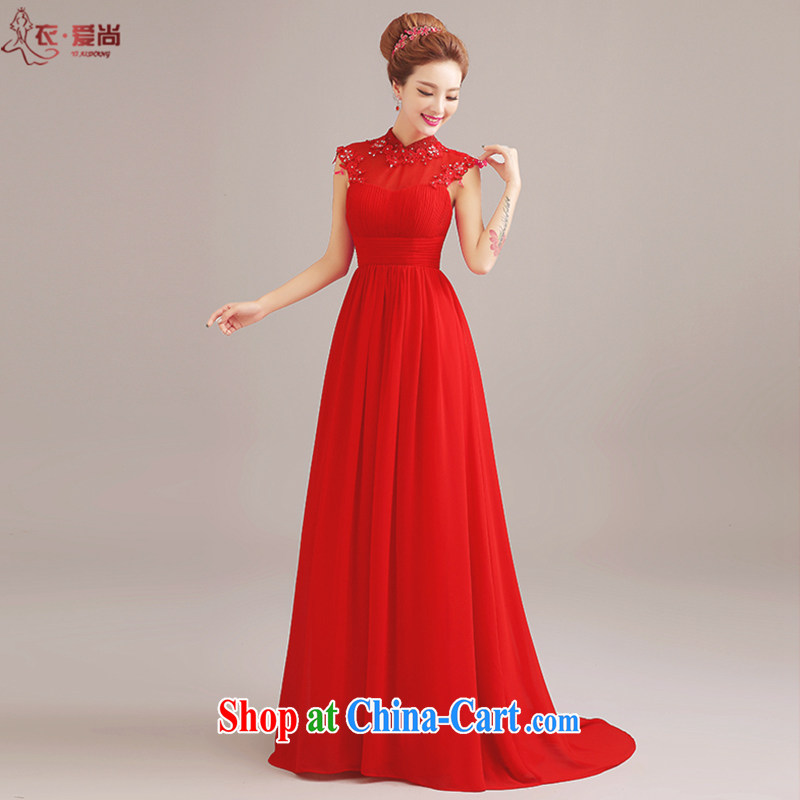 Clothing and love is still wedding dresses 2015 new bride wedding dress uniform toast, long-neck shoulders with evening dress dress girl red to make the $30 does not return
