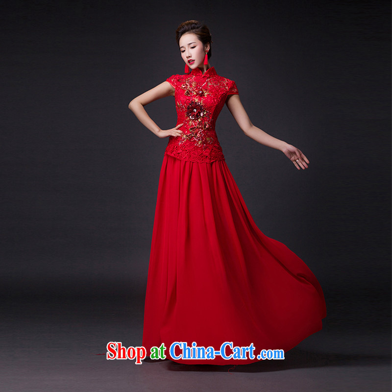 Hi Ka-hi 2015 new bows dresses, classic style retro fine embroidery only the buckle dress skirt L 014 red left size tailored