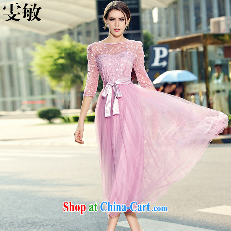 Wen Min 2015 spring and summer new lady in snow cuff woven Web yarn embroidery, long skirt large dresses dress girls 6512 pink XL