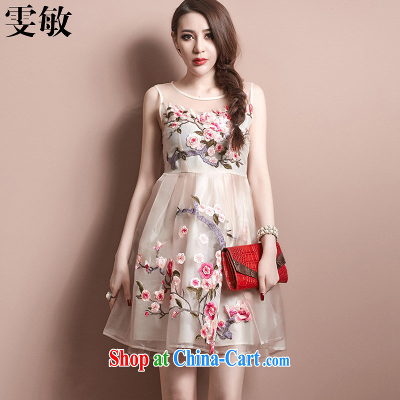 Wen Min summer 2015 new European root yarn Phillips-head embroidery vest dress dress women 6002 apricot XL