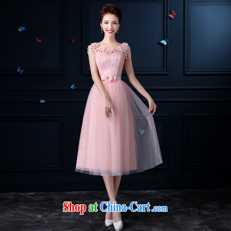A good service is 2015 New Evening Dress bridesmaid clothing summer pink bridesmaid dress, long, Moderator dress female E Paragraph 605 - lace shoulders 2XL