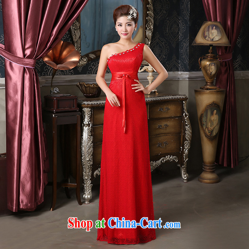 Pure bamboo love dresses bridal gown long dress Princess dress rose dress bride's red long dress single shoulder bridal back dress-red XXXL