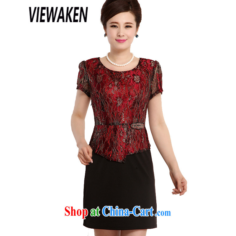 viewaken 2015 new, the waist dress leave of two-piece dresses, older mom with 3 color figure is a stunning red 4 XL brassieres 108 CM