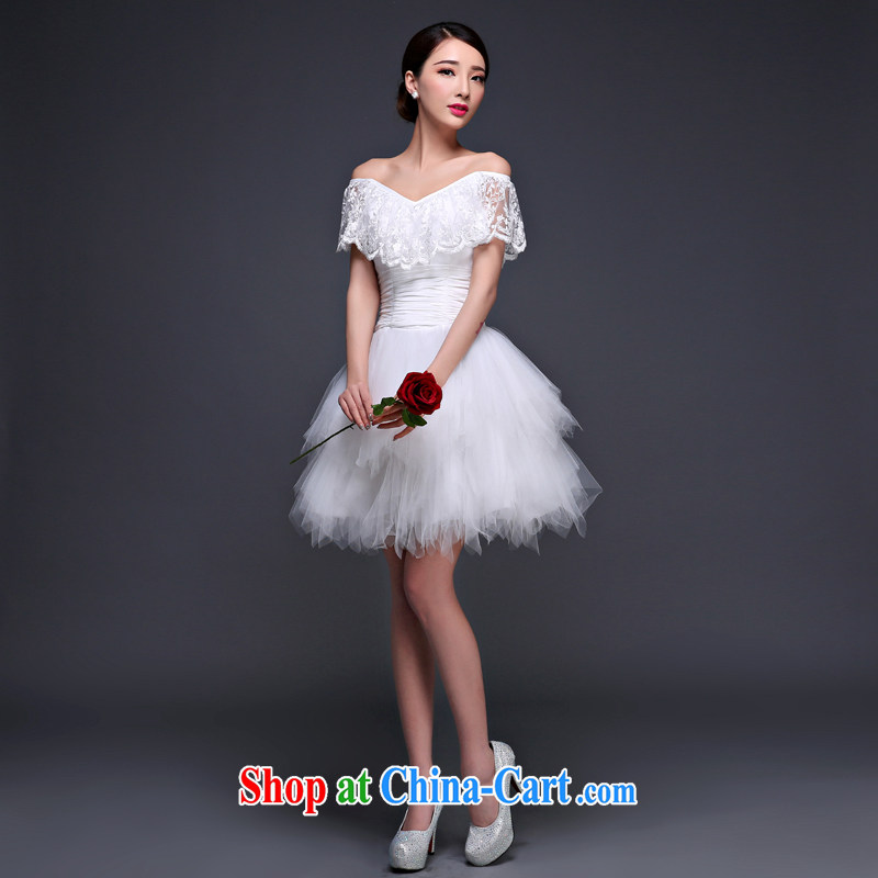 Snow Lotus bridesmaid dresses small firm new short bridal evening dress a field shoulder shaggy lace Princess skirt stylish beauty tie bows dress dress white XL