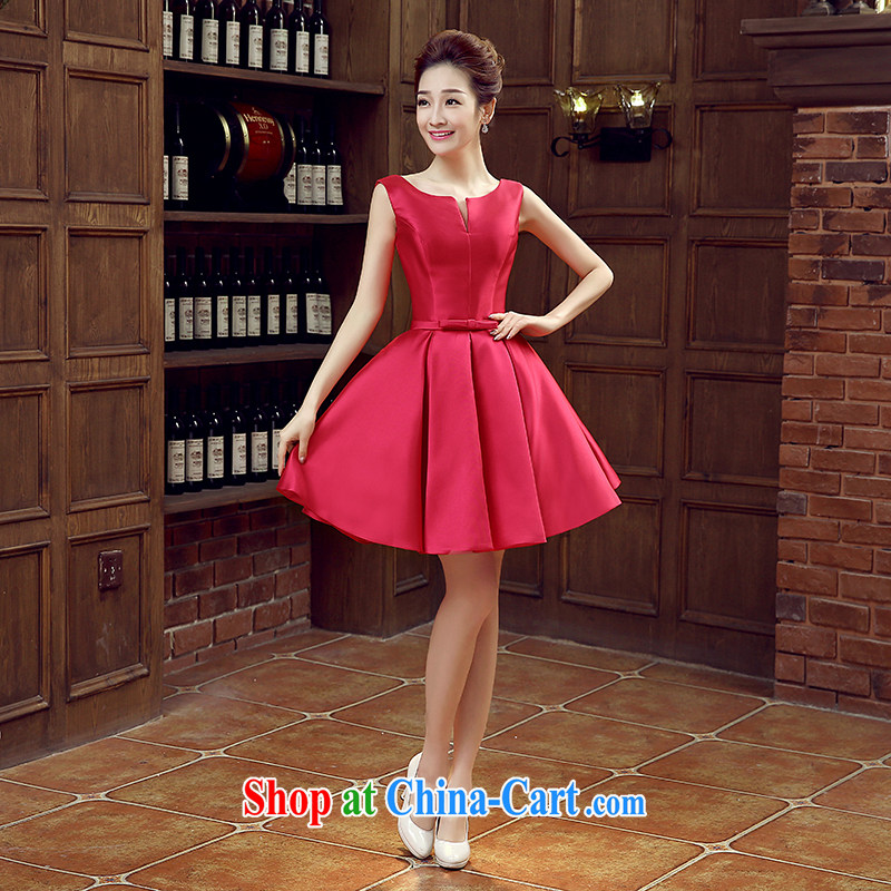 Evening Dress new 2015 spring and summer bridal toast clothing wedding dress red shoulders, length bridesmaid serving the red M
