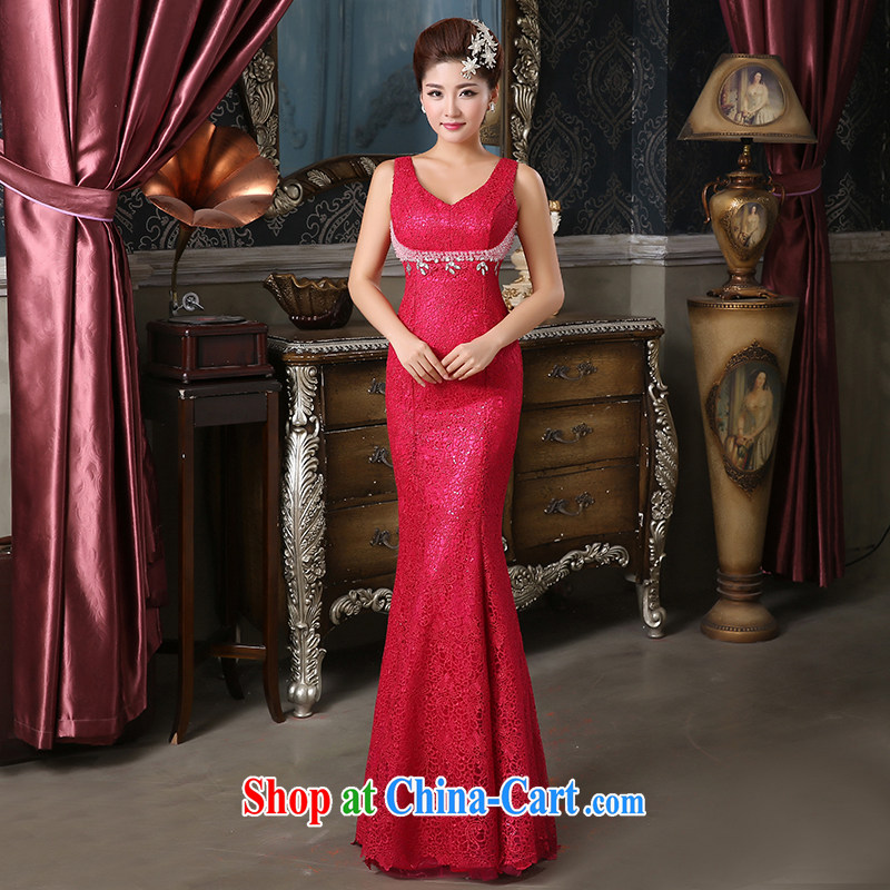 Pure bamboo love yarn New Field shoulder dress upscale lace Evening Dress embroidered dress pearl cultivation dress bridal dresses show hosted service banquet dress of red tailored contact Customer Service