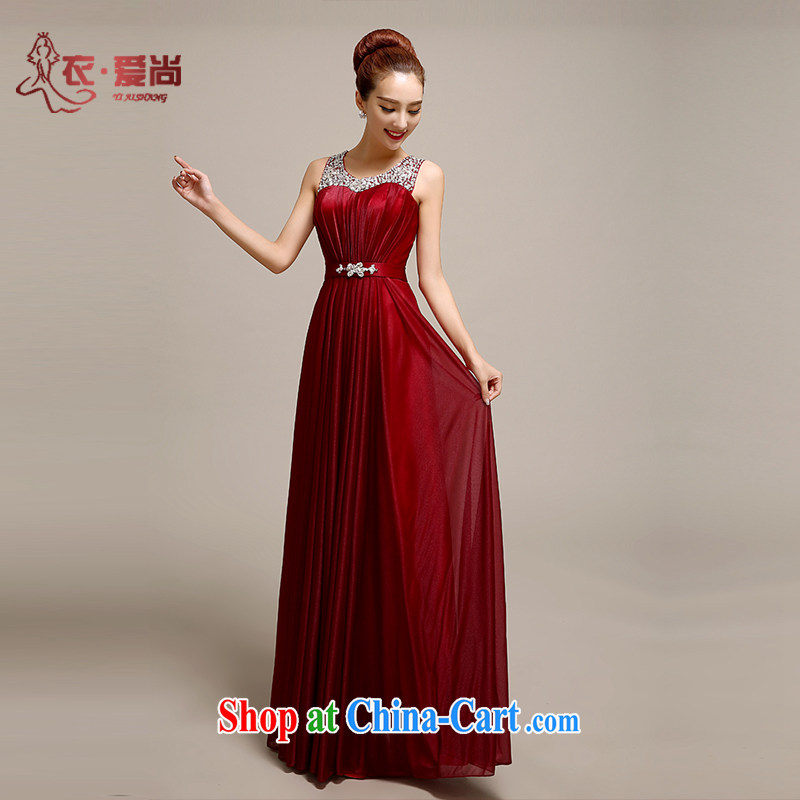 Yi love is wedding dresses summer 2015 new wine red double-shoulder lace long dress toast Service Bridal Fashion wedding dress dark red to make the _30 does not return